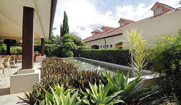 Villa Serena aged care landscaped garden water feature
